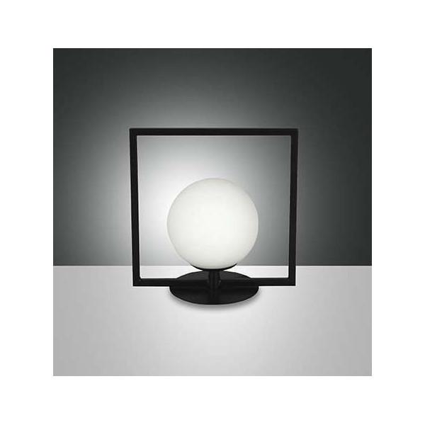 Sirio quadrato lampada da tavolo struttura in alluminio e vetro soffiato Led 6W