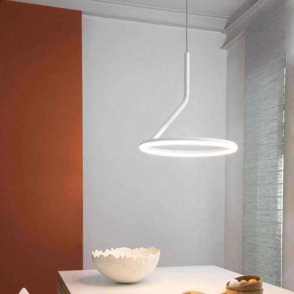 Giò Suspension lamp in aluminium painted white Led 28W 3000K