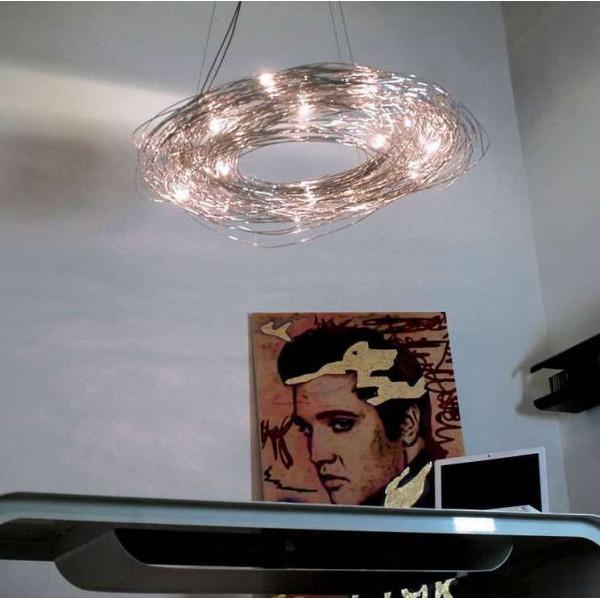 Lampe à suspension Confusione S 100 en fil d'aluminium anodisé