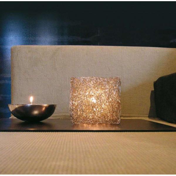Lampe de table Qubetto T 15 en fil d'aluminium anodisé 40W G9