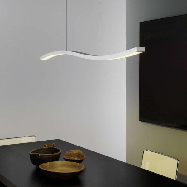 Structure de lampe à suspension serpentine en aluminium peint blanc Led 23W 3500K