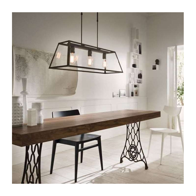 Il Fanale,Suspension, LONDON SUSP. RETTANGOLARE 80X30 3 LIGHTS.