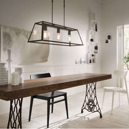 London rettangolare 80x30 3 lights Suspension lamp in antiqued iron and transparent glass