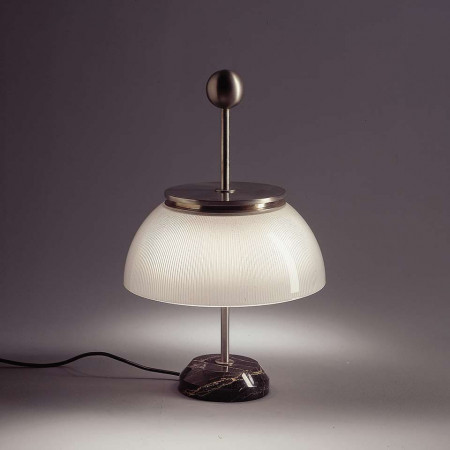 Alfa Table lamp metal structure in opaque nickel-plate 30W E14