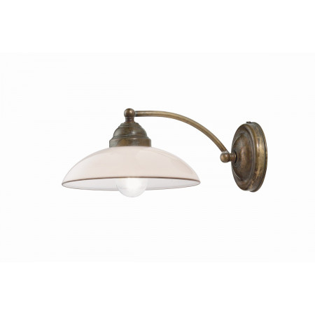 Country Curvo Wall lamp in brass with white blown glass 46W E14