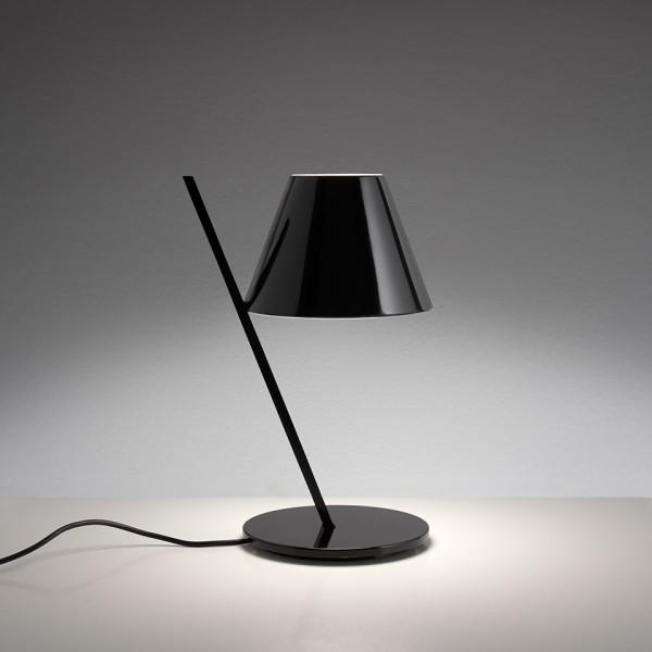 La Petite pied de lampe de table et tige en aluminium et abat-jour en technopolymère