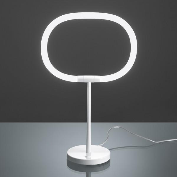 Halo lampada da tavolo base e stelo in metallo verniciato bianco Led 13,5W 4000K