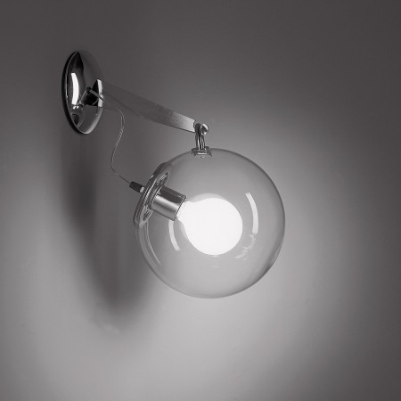 Miconos Wall lamp diffuser in transparent blown glass 20W E27