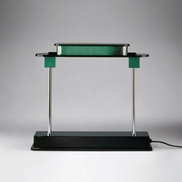 Pausania lampada da tavolo corpo in resina nera e diffusore in metacrilato verde Led 10W 6500K