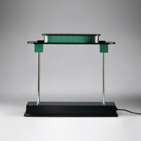 Pausania Table lamp body in black resin and diffuser in green synthetic material Led 10W 6500K