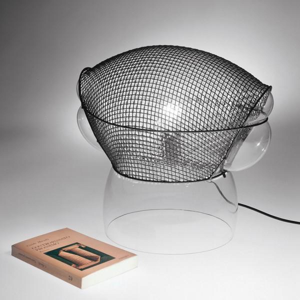 Corps de lampe de table Patroclus en verre soufflé recouvert d'une structure en métal
