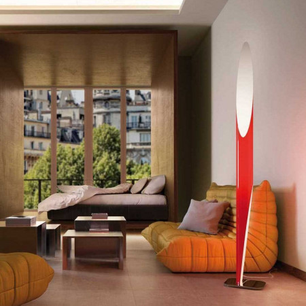 Shakti 250 lampada da terra base lucidata e diffusore tubolare in Plexiglas 77W E27