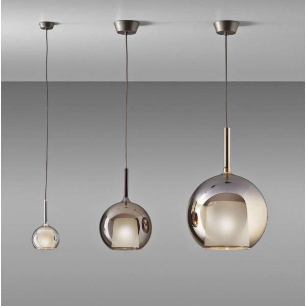 Structure de la lampe à suspension Glo Medium en métal chromé poli et verre borosilicate, rosace en titane