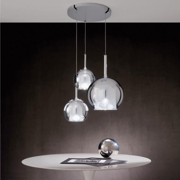 Glo Medium lampada a sospensione struttura in metallo cromato lucido e vetro borosilicato, rosone titanio