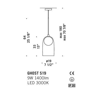 Ghost S19 Suspension lamp glass diffuser