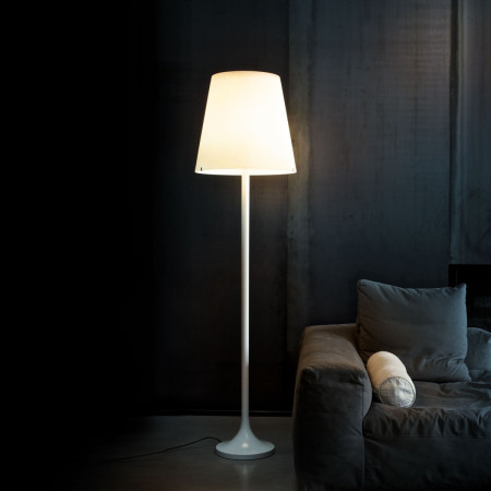 Lumen Floor lamp diffuser in frosted white opaline blown glass