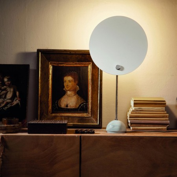 Kuta Lampe de table à réflecteur circulaire en aluminium 100W E27