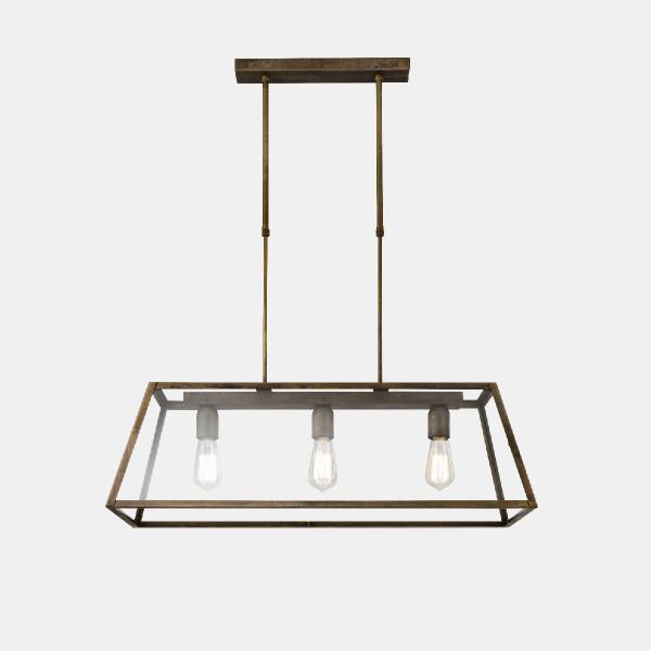 London Lampe à suspension rectangulaire 80x30 3 lumières en fer vieilli et verre transparent