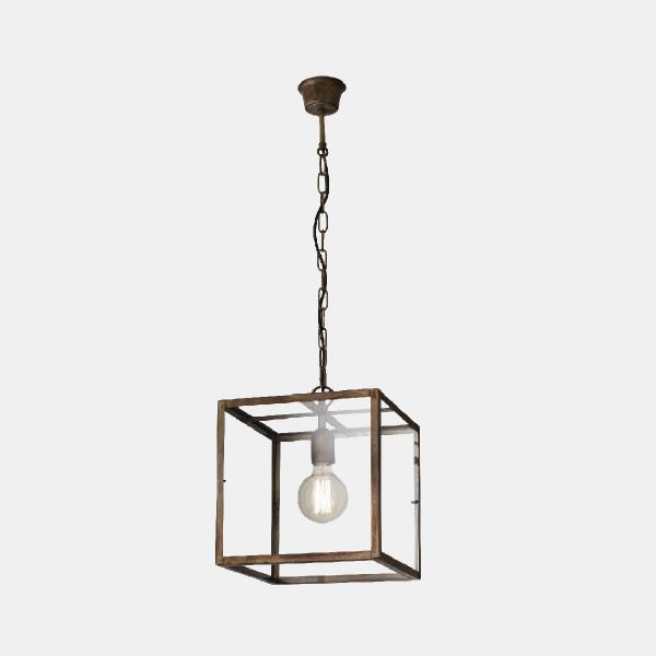 London quadrata 30x30 1 luce lampada a sospensione in ferro anticato e vetro trasparente
