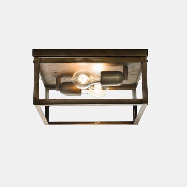 London 31x31 2 luci lampada da soffitto in ferro anticato e vetro trasparente