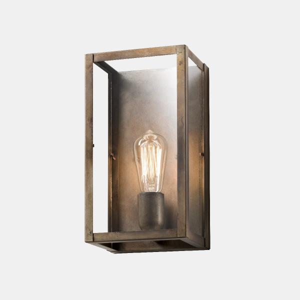 London 30x18 1 luce lampada da parete in ferro anticato e vetro trasparente