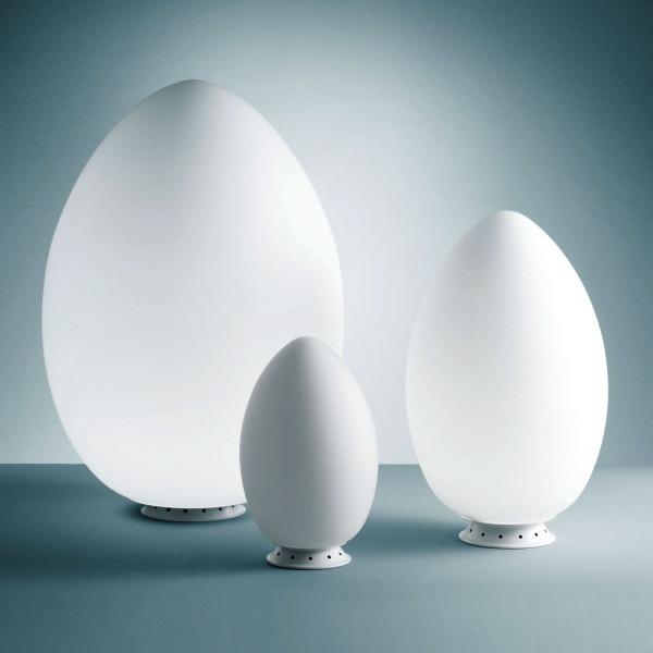 Lampe de table Uovo Medio en verre soufflé blanc satiné 70W E27