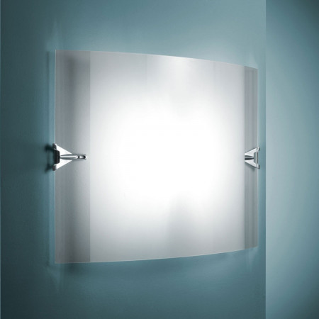Velo 50 X 35 X 12 Wall lamp diffuser in curved glass and sandblasted 160W R7s