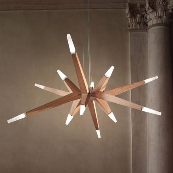 Lampe à suspension Flashwood S12 140 avec bras en bois de chêne Led 28,8W 3000K