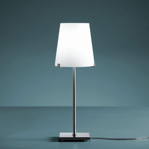 Chiara lampada da tavolo diffusore in vetro soffiato bianco opalino