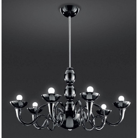 Pantalica Suspension lamp arms and bowls in blown glass 46W E14