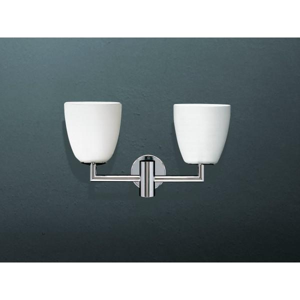 006/2 lampada da parete diffusori in vetro soffiato satinato bianco 42W E14
