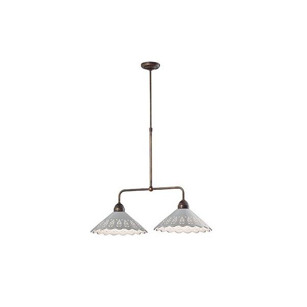 Lustre Fiori di Pizzo 2 lumières en céramique et laiton 46W E27