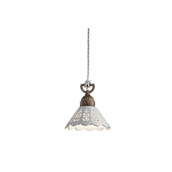 Lampe à suspension Fiori di Pizzo Small en céramique et laiton 46W E27