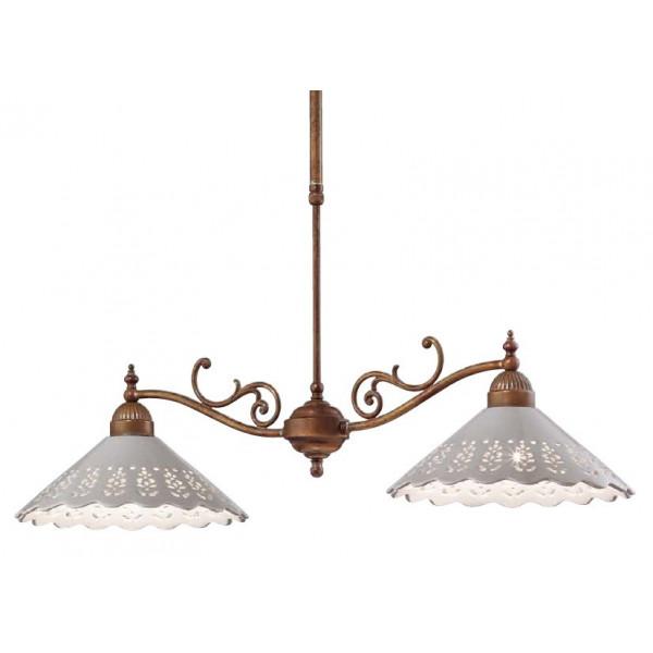 Fiori di Pizzo lampadario 2 luci in ceramica e ottone 46W E27