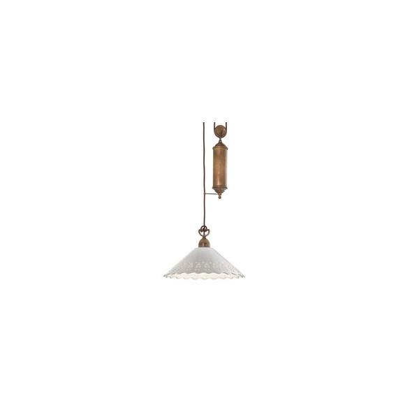 Fiori di Pizzo Saliscendi c/metallo lampada a sospensione in ceramica e ottone 77W E27