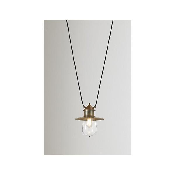 Drop c/cappello con due cavi mt.3 lampada a sospensione IP55 in ottone, rame e vetro 57W E27