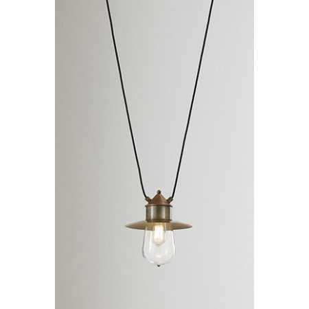 Drop c/cappello with two cables mt.3 Suspension lamp IP55 in brass, copper and glass 57W E27