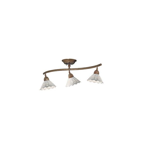 Fiori di Pizzo binario 3 luci in ceramica e ottone 46W E27