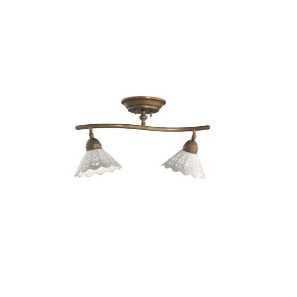 Fiori di Pizzo binario 2 luci in ceramica e ottone 46W E27