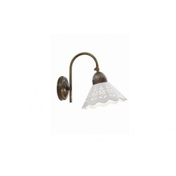 Fiori di Pizzo c/snodo lampada da parete curvo in ceramica e ottone 46W E27