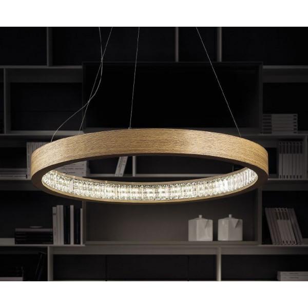 Lampe à suspension Libe Round S60 en bois de chêne Led 47,5W 3000K