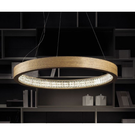 Libe Round S60 Suspension lamp in oak wood Led 47,5W 3000K