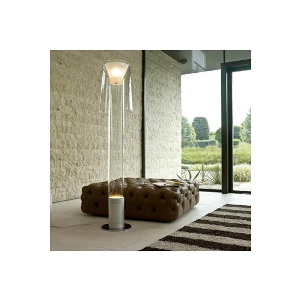 Lampadaire commun avec tige et diffuseur en verre borosilicaté transparent et sablé