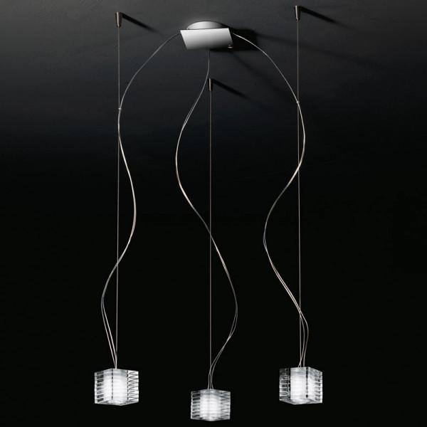Otto x Otto S3D lampada a sospensione vetro in cristallo extrachiaro 33W G9