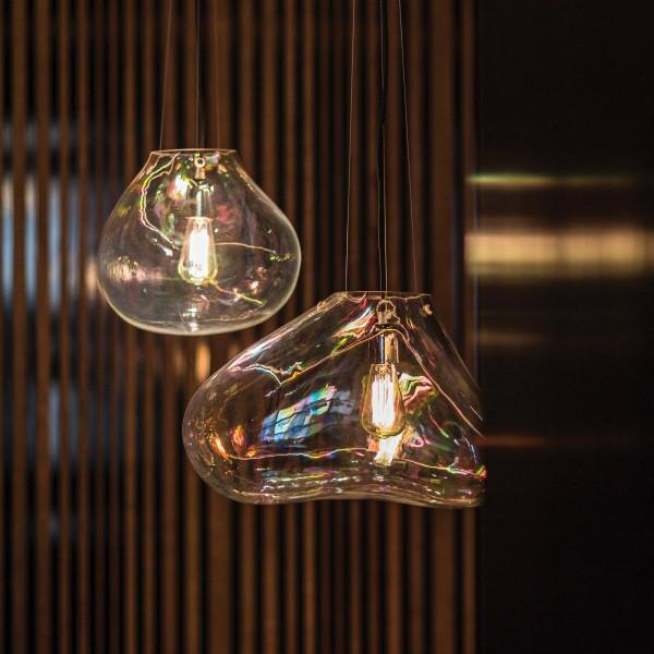 Bolla lampada a sospensione in vetro soffiato trasparente