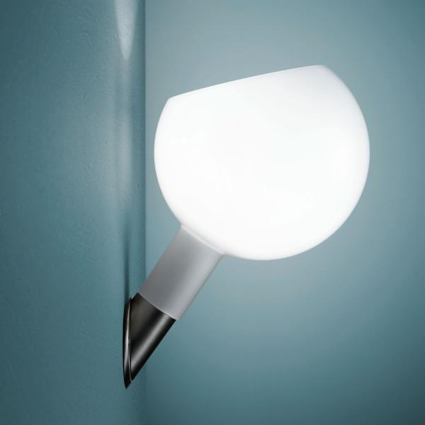 Parola lampada da parete diffusore in vetro soffiato opalino 60W E14