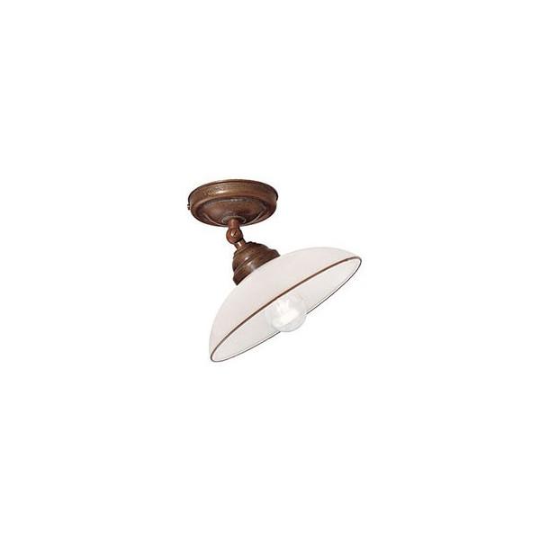 Country c/snodo lampada da soffitto in ottone e vetro soffiato 46W E14