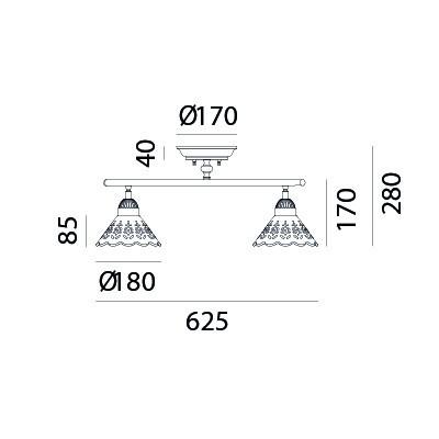Il Fanale , FLEURS DENTELLE, 2 LUMIÈRES, Plafond