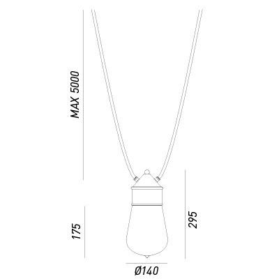 Il Fanale , DROP SUSPENSION AVEC DEUX CÂBLES MT. 3, suspension.