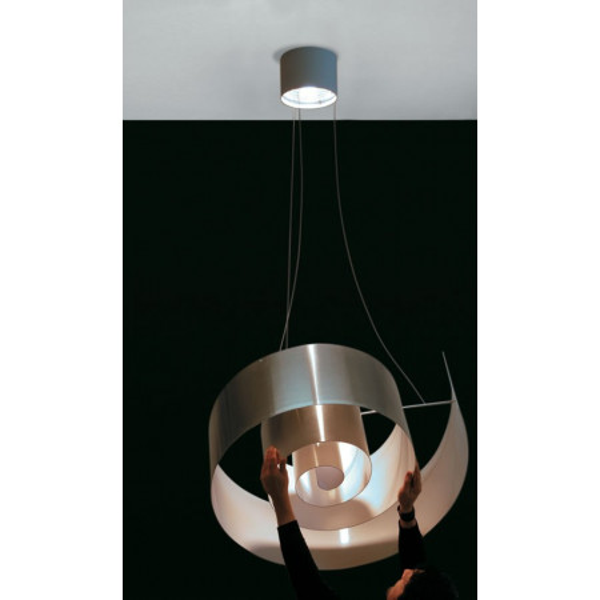 Lampe à suspension Spirale S 110 en aluminium protégé poli